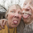 Stock Photo: Crazy Couple Sticking Out Tongues