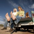 Cowboy and womon pickup truck — Stock Photo #39767923