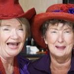 Two Senior Women Wearing Red Hats — Stock Photo #39769405