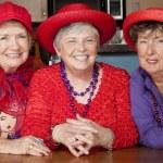 Three Senior Women Wearing Red Hats — Stock Photo #39769495