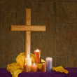 Christian alter with cross and candles — Stock Photo #39769581