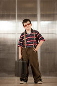 Little boy in adult clothes — Stock Photo