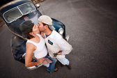 Couple with Vintage Car — Stock Photo