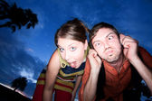 Couple making Funny Faces at Sunset — Stock Photo