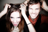 Couple tearing out their hair — Stock Photo