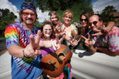 Groovy Group Making Peace Signs — Stock Photo