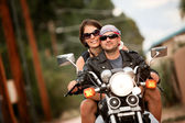 Man and Woman on Motorcycle — Stock Photo