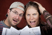 Couple with too many bills — Foto de Stock