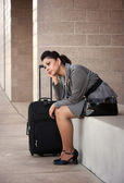 Bored Hispanic Woman Traveler — Stock Photo