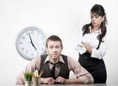 Woman angry with a male coworker — Stock Photo
