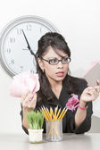 Pretty Hispanic businesswoman with too much to do — Stock Photo