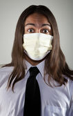 Man wearing a breathing mask — Stock Photo