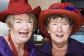 Two Senior Women Wearing Red Hats — Foto Stock