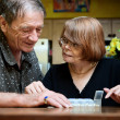 Stock Photo: Senior couple with daily supplements