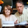 Senior couple at home with many bills — Stock Photo #39775279