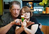 Senior Couple at Home with Prescription — Stock Photo