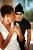 Woman being stalked — Stock Photo