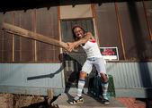 Kobieta wahadłowy zarządu — Zdjęcie stockowe