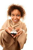 Pretty African American Woman in Blanket with Sleeves — Stock Photo