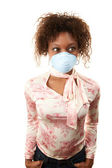Woman with breathing mask — Stock Photo