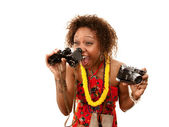 Funny African-American Tourist — Stock Photo