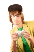 Teenage boy with game controller — Stock Photo