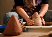 Potter Shaping Clay — Stock Photo