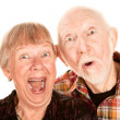 Surprised senior couple — Stock Photo