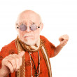 Senior Man on White Background Throwing a Punch — Stock Photo