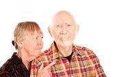 Senior woman arguing with man — Stock Photo