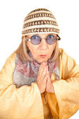 Crazy new age woman in a yellow robe — Stok fotoğraf