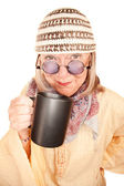 Crazy new age woman in a yellow robe with coffee — Stok fotoğraf
