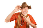 Eccentric senior man in straw hat — Stock Photo