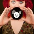 Punky Girl with Red Hair with Prediction Ball — Stock Photo #40107409