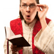Pastor finding something shocking in Bible — Stockfoto #40109065