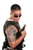 Tough Hispanic Cop — Stock Photo
