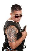Tough Hispanic Cop — Stock Photo
