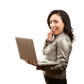 Hispanic Woman with Laptop — Stock Photo
