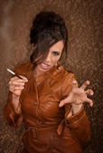 Woman with cigarette — Stock Photo