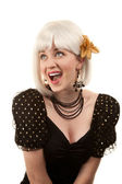 Retro woman with white hair — Stock Photo