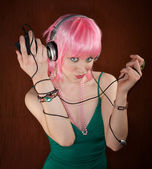 Disco Woman with Pink Hair — Stock Photo