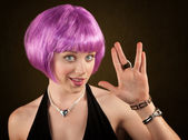Woman with Purple Hair — Stock Photo