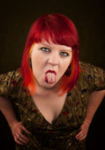 Punky Girl with Red Hair — Stock Photo