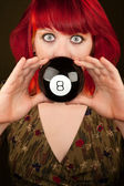 Punky Girl with Red Hair with Prediction Ball — Stock Photo