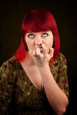 Punky Girl with Red Hair — Stok fotoğraf