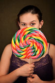 Pretty Girl with Lollipop — Zdjęcie stockowe