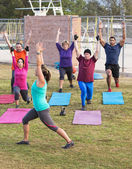 Exercise Class Stretching Outdoors — Stock Photo