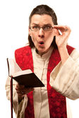 Pastor finding something shocking in the Bible — Stock Photo