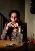 Alcoholic woman — Stock Photo