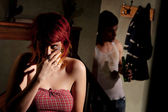 Frightened young woman — Stock Photo